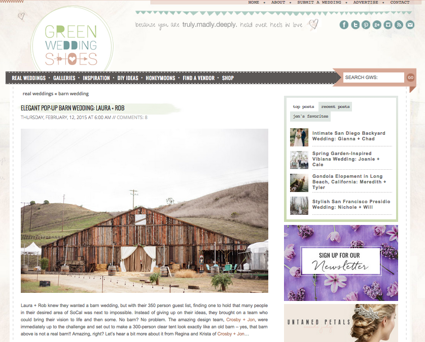 Featured on Green Wedding Shoes: Elegant Pop Up Barn Wedding